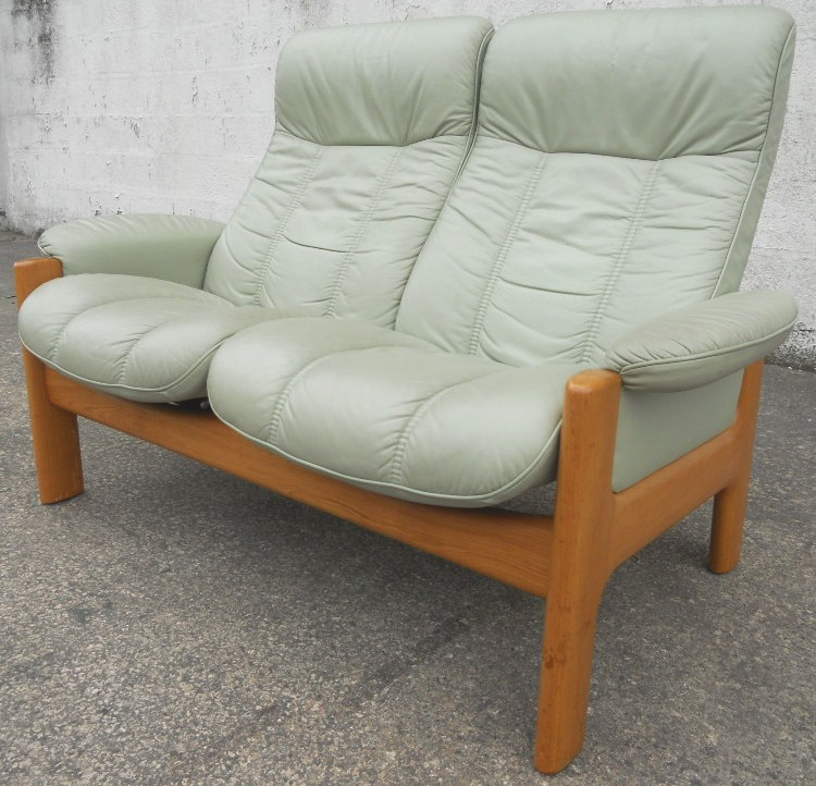 SOLD   Stressless, Two Seater High Back Loveseat, Leather Reclining Sofa  Settee